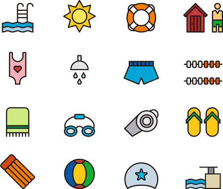 SWIMMING POOL outlined and colored icons