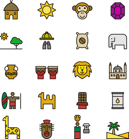 masai: AFRICA outlined and colored icons