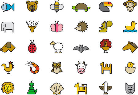 squirrel monkey: ANIMALS outlined and colored icons