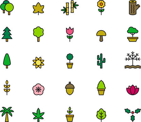 plants and trees: FLOWERS, PLANTS & TREES outlined and colored icons