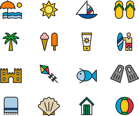 kite surf: SUMMER & BEACH filled outline icons Illustration