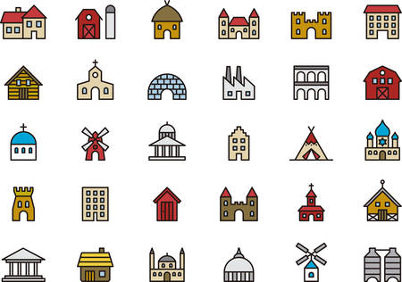 GEBOUWEN & CONSTRUCTIONS gevuld overzicht pictogrammen