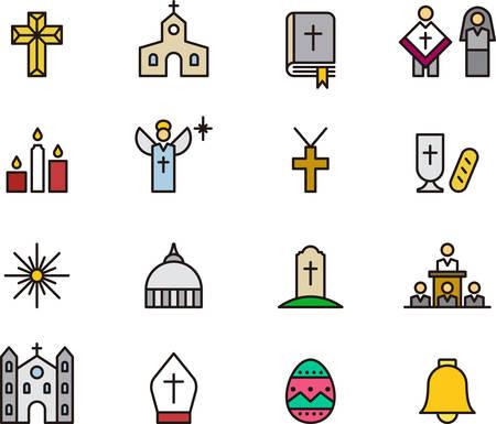 christian candle: CATHOLIC RELIGION filled outline icons