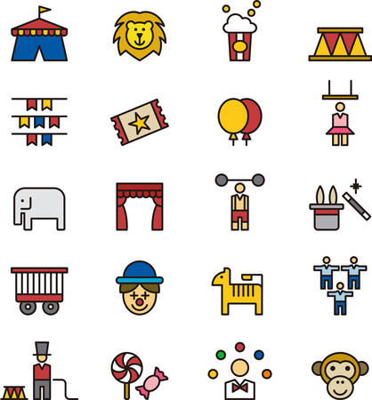 tightrope walker: CIRCUS outlined and colored icons