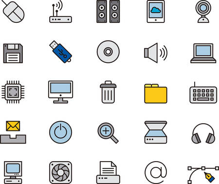 COMPUTER outlined and colored icons