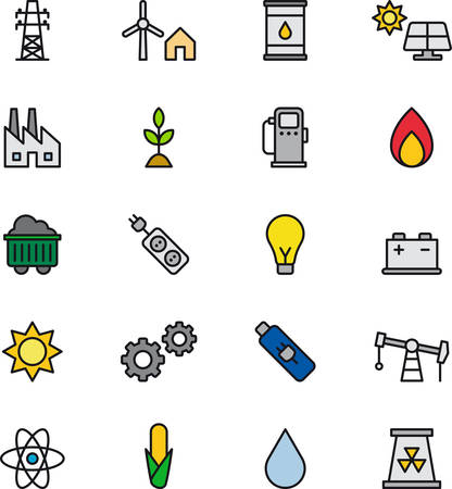 hydro electric: ENERGY SOURCES outlined and colored icons Illustration