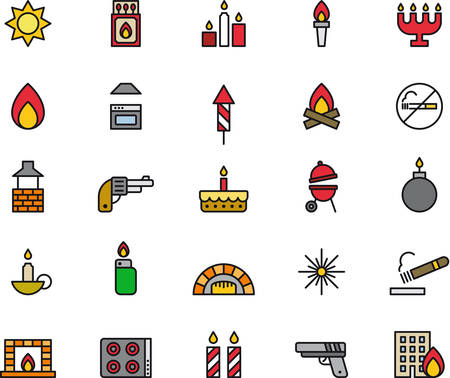 fireplace lighter: FIRE outlined and colored icons