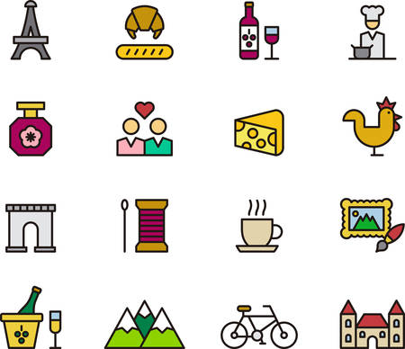 castles needle: FRANCE outlined and colored icons Illustration