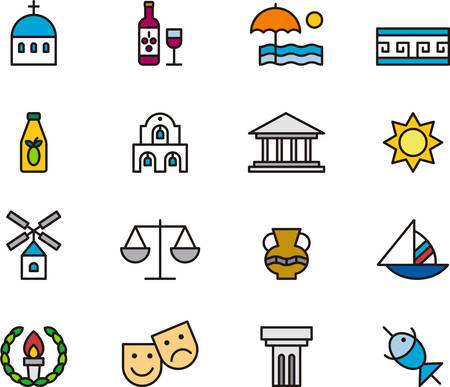GREECE outlined and colored icons