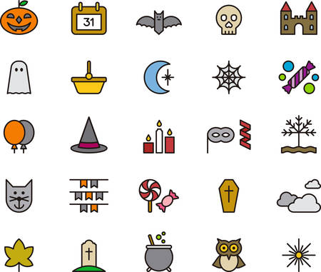 HALLOWEEN outlined and colored icons Illustration