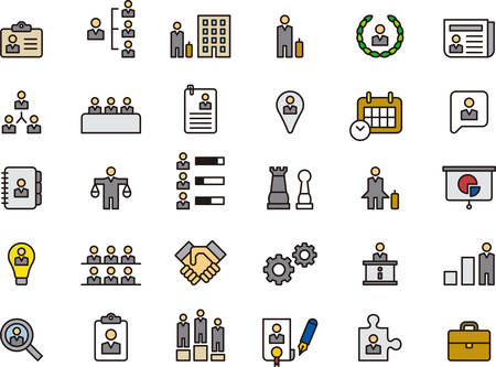 BUSINESS, HHRR & MANAGEMENT outlined and colored icons Vettoriali