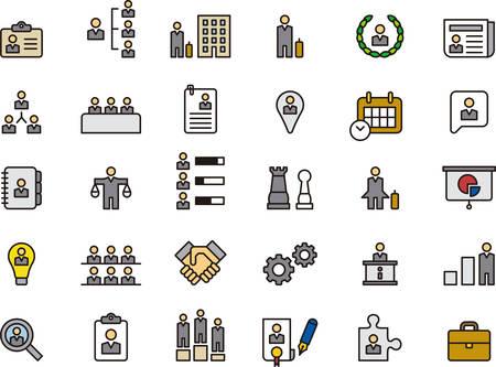 BUSINESS, HHRR & MANAGEMENT geschetst en gekleurde pictogrammen