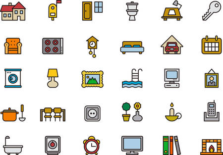 HOME RELATED outlined and colored icons