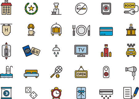 outlined: HOTEL & TRAVEL outlined and colored icons