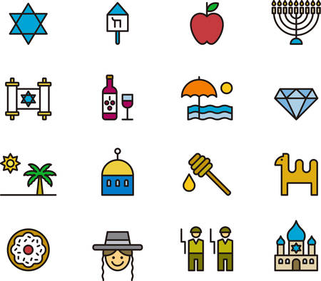 ISRAEL outlined and colored icons