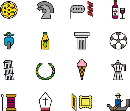 ITALY outlined and colored icons Illustration