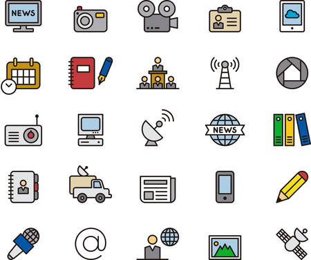 journalism: JOURNALISM & MEDIA outlined and colored icons Illustration