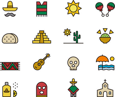 MEXICO outlined and colored icons