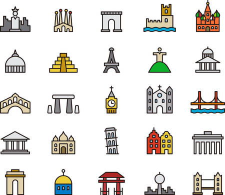 MONUMENTS colored outline icons