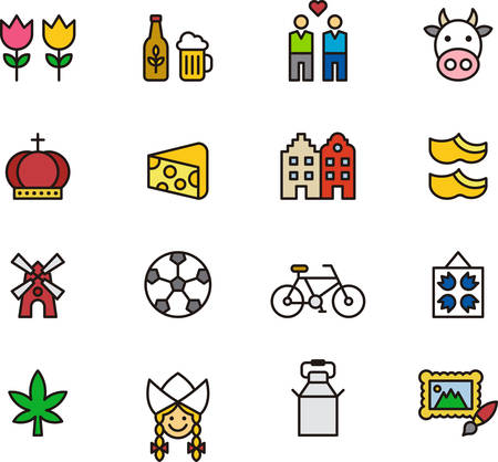 clogs: NETHERLANDS colored outline icons