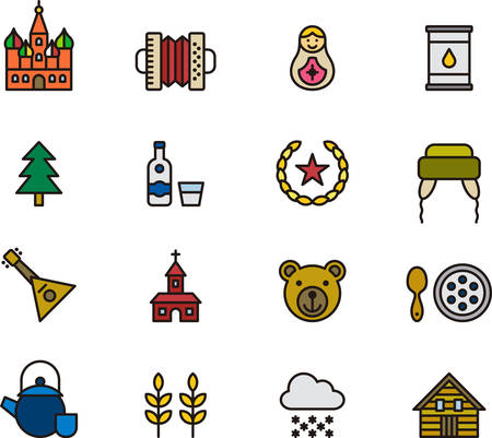 communism: RUSSIA colored outline icons Illustration