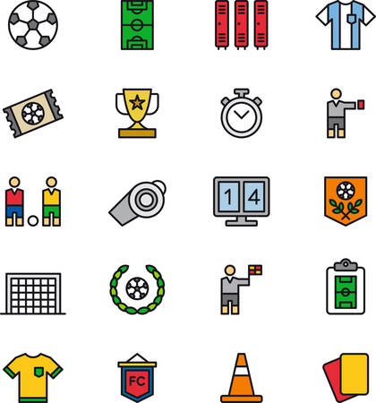 SOCCER  FOOTBALL colored outline icons