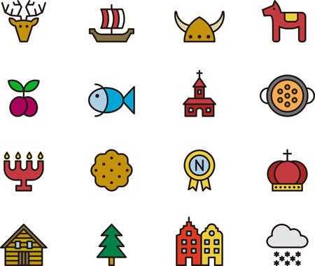 candelabrum: SWEDEN colored outline icons Illustration