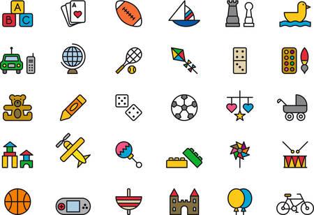 balon baloncesto: Juguetes de colores iconos de esquema
