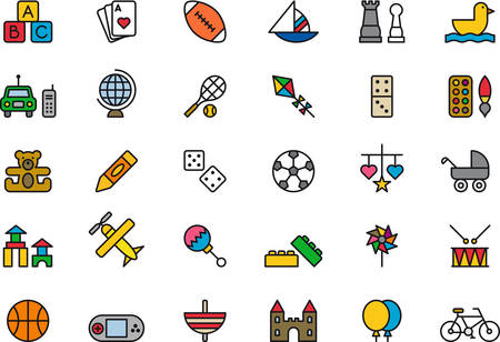 pinwheel toy: TOYS colored outline icons Illustration