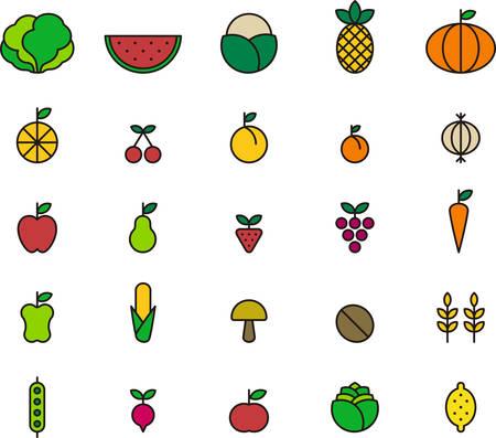 FRUITS & VEGETABLES colored outline icons Illustration