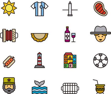 ARGENTINIÃ‹ gekleurde schets iconen