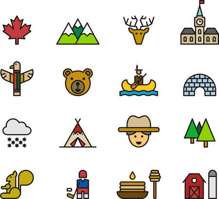 wigwam: CANADA colored outline icons