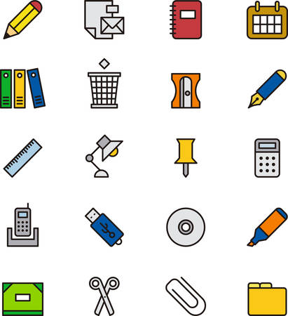 office supplies: OFFICE SUPPLIES colored outline icons