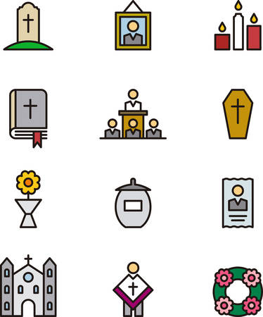 DEATH & FUNERAL colored outline icons Illustration