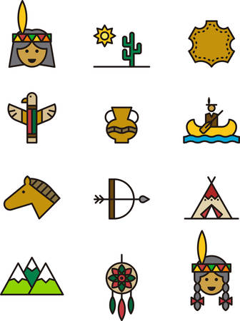 NATIVE AMERICAN colored outline icons Stock Vector - 55573161