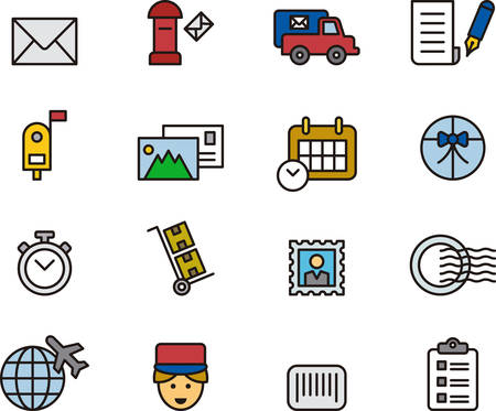 post office: POST OFFICE colored outline icons Illustration