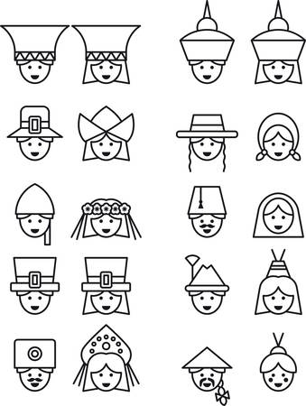 irish woman: PEOPLE FROM ALL OVER THE WORLD outline icons Illustration