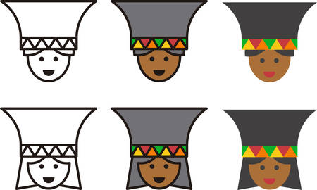 african tribe: ZULU man and woman icons Illustration
