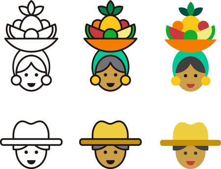 CUBANOS hombre y mujer iconos