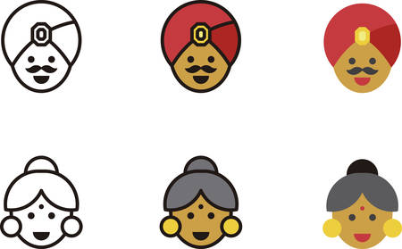 chignon: INDIAN man and woman icons Illustration