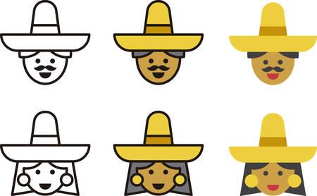 traje mexicano: hombre y mujer los iconos MEXICANO
