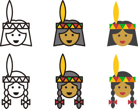 NATIVE AMERICAN man and woman icons Illustration