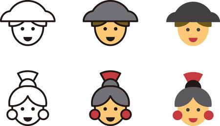 spanish woman: SPANISH man and woman icons