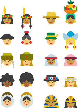 chignon: PEOPLE FROM ALL OVER THE WORLD colored flat icons Illustration