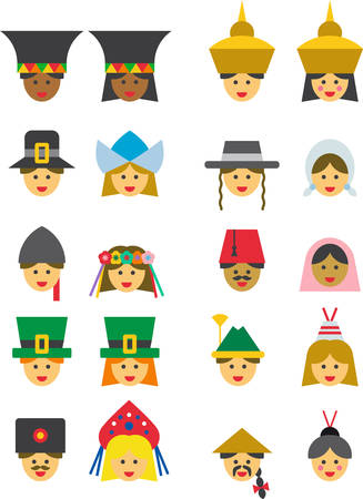 tyrol: PEOPLE FROM ALL OVER THE WORLD colored flat icons Illustration
