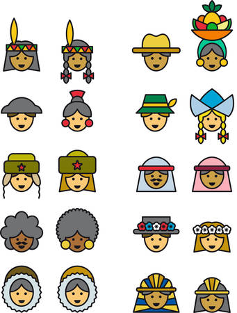 carmen: PEOPLE FROM ALL OVER THE WORLD filled outline icons