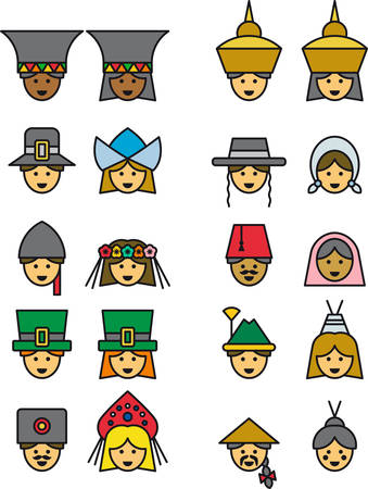 tyrol: PEOPLE FROM ALL OVER THE WORLD filled outline icons