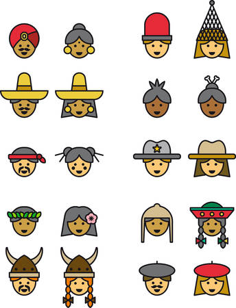 chignon: PEOPLE FROM ALL OVER THE WORLD filled outline icons
