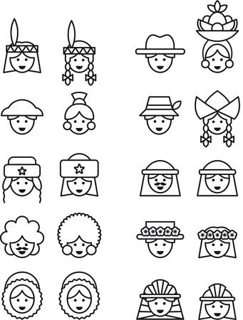 chignon: PEOPLE FROM ALL OVER THE WORLD outline icons Illustration