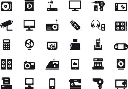 glyph: ELECTRONIC DEVICES HOME APPLIANCES & glyph icons Illustration